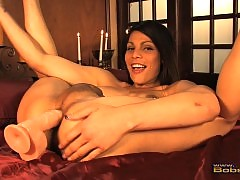 Amazing Teighjiana dildoing herself with a huge cock