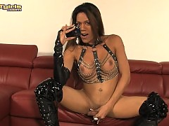Sweet transsexual Laelah stroking off her juicy hard dick